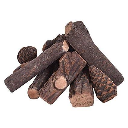Amazoncom Goplus Ceramic Wood Gas Fireplace Log Set For Ventless