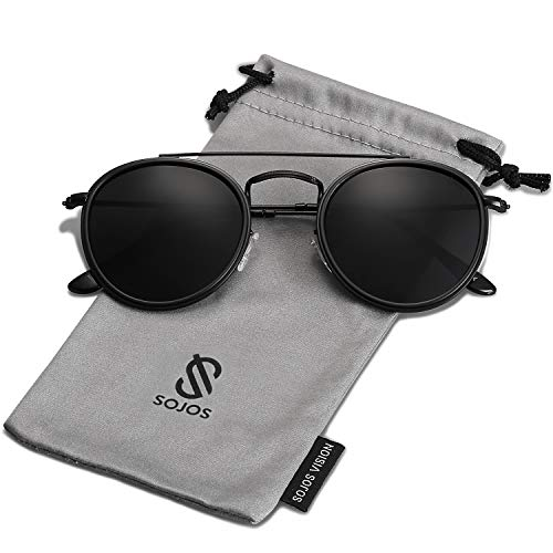 SOJOS Small Round Polarized Sunglasses Double Bridge Frame Mirrored Lens SUNSET SJ1104 with Black Frame/Grey Polarized Lens