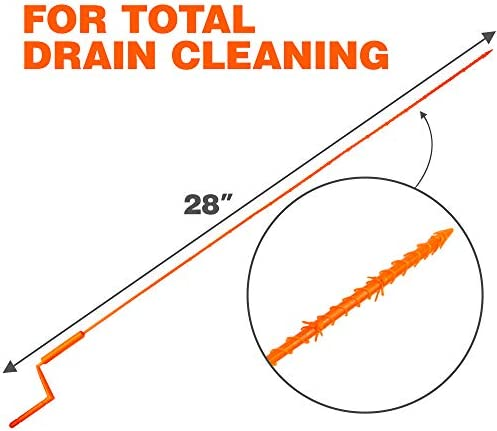 """X-PROTECTOR DRAIN CLOG REMOVER – PREMIUM Drain Hair Catcher – 28"""" Drain Cleaner – 5 pcs Hair Clog Removers – Drain Hair Catcher with Rotating Handle – Orange Sink Hair Removers – TOTAL DRAIN CLEANING!"""