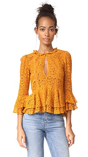 Arielle Blouse, Deep Gold, X-Small (Nylon Ruffled Blouse)