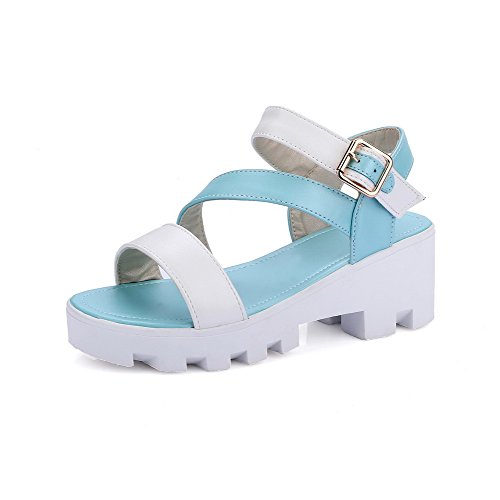Amoonyfashion, Donna, Assortiti, Colore, Piattaforma, Open-toe, Fibbie, Sandali, Blu