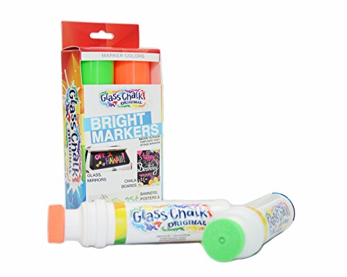 Glass Chalk - The Original Patented Indoor/Outdoor Temporary Paint Marker for Auto Windows and Glass Surfaces, Sponge-Tip, Assorted Colors, Neon Orange and Neon Green, 2 - Banner Glass Auto