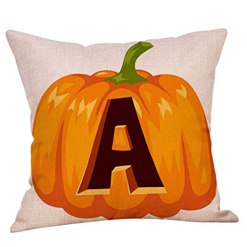 Kuhxz Trendy Fall Halloween Pumpkin Pillow Case Waist Throw Cushion Cover Sofa Home Decor for Better 45cm x 45cm(Approx.)