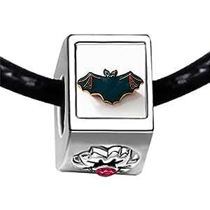 Chicforest Silver Plated Halloween bat biscuit Photo Red Zircon Crystal July Birthstone Flower Charm Beads Fits Pandora Bracelet