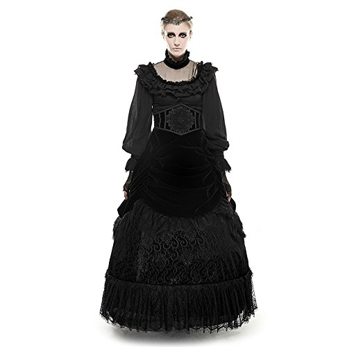 PunkRave Gothic Retro Victorian Lace up Long Ruffle Pencil Skirt Women's Q-281-XL