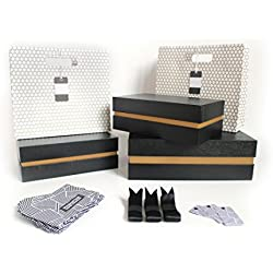 Fancy Black Crocodile Gift Box Kit – SET | 3 Boxes and 2 Gift Bags, Tissue Paper, & Cards | 1 Large & 2 Med Boxes & 2 Bags | Large: 12.5x10.5x3.75 in | Medium: 10.25x6x3.25 in (Manhattan Gold)