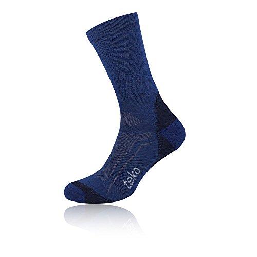 Teko Men's Merino Wool SIN3RGI Blend Medium Cushion Crew Height Socks, Storm, Large