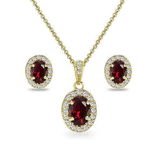 (Yellow Gold Flashed Sterling Silver Created Ruby & CZ Oval Halo Necklace & Stud Earrings Set with CZ Accents)