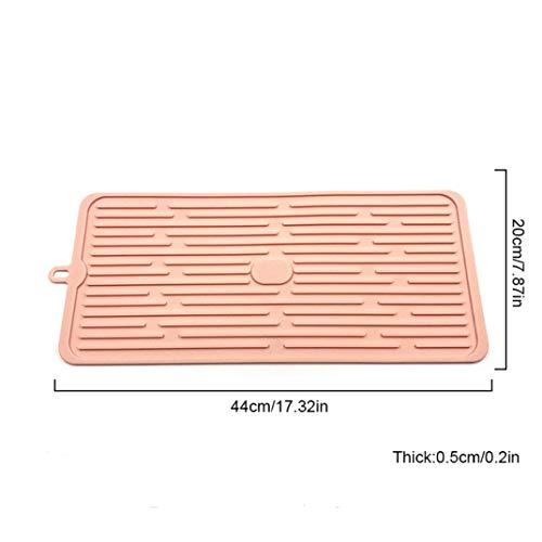 (Silicone Dish Drying Mat Kitchen Tableware Pad Washing Sink Glass Rack Mats Home Black)