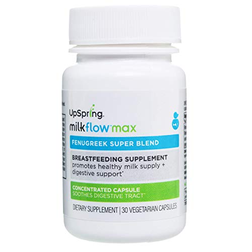UpSpring Baby Milkflow Max Breastfeeding Supplement with Fenugreek, Blessed Thistle and Shatavari for Lactation Support, and Digestion Aid, 30 Count Breastmilk Supply Pills