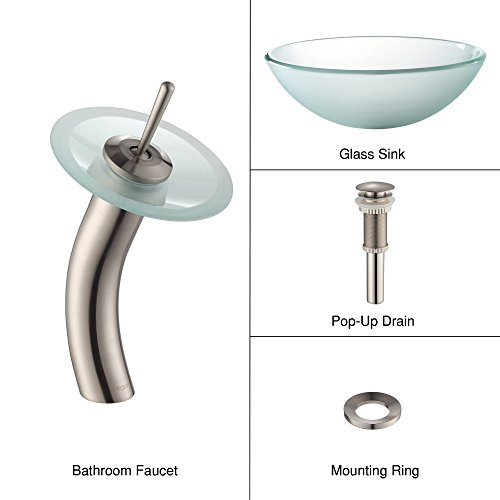 Kraus C-GV-101FR-12mm-10SN Frosted Glass Vessel Sink and Waterfall Faucet Satin Nickel