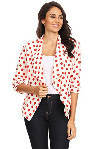 Solid & Printed Open Blazer Cardigan Jacket/Made in USA Medium Polka White Red L