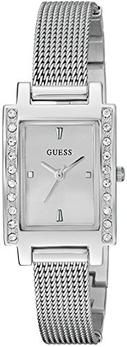 GUESS Women's Stainless Steel Crystal Mesh Bracelet Watch, Color: Silver-Tone (Model: U0953L1)