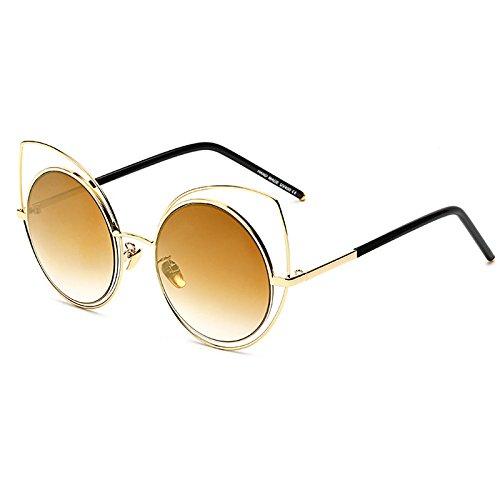 de Sol Nuevo metálico B de de Mujer E Gafas Bastidor Moda de Gato y UV400 Moderno Gafas Lujo Ojo de Burenqi IZx1aqa