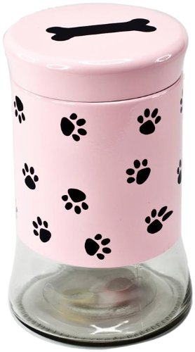 Housewares International Glass Pet Treats Container with Lid, Pink with Black Paw Print, 34-Ounce Review