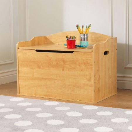 Toy Box, Multiple Colors, Home Furniture, Children's Ottoman, Storage Box, Storage Organizer, Made of Sturdy Wood Construction, Home Decor, Safety Hinge, Playroom, BONUS e-book ()