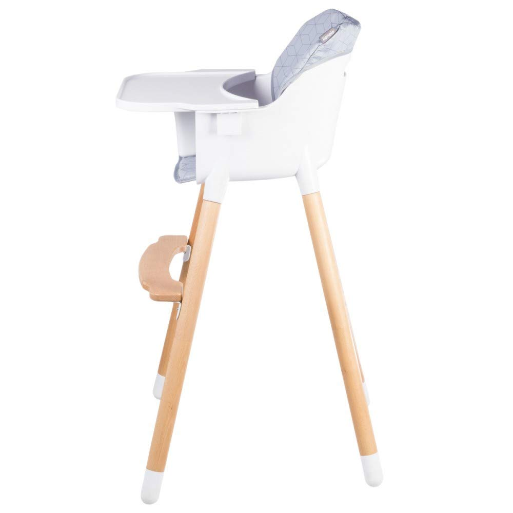 KOEN Chaise haute en bois style scandinave et /évolutive Gris