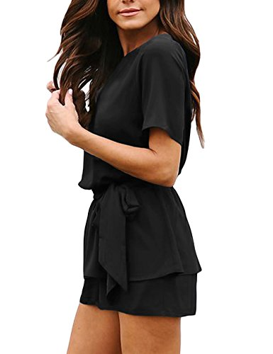 Utyful Women's Casual Short Sleeve Belted Keyhole Back One Piece Black Jumpsuit Romper Size Small (Fits US 4 - US 6) by Utyful (Image #2)