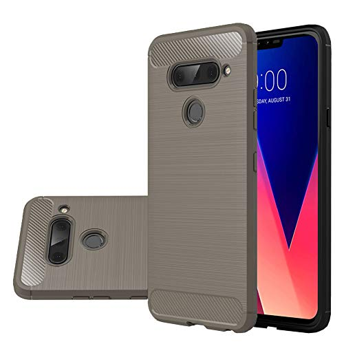 Greige Button - LG V40 Thinq Case, LG V40 Case, Vinve [Slim Thin] Carbon Fiber TPU Shock Absorption Anti-Scratches Flexible Soft Protective Case Cover for LG V40 ThinQ (Grey)
