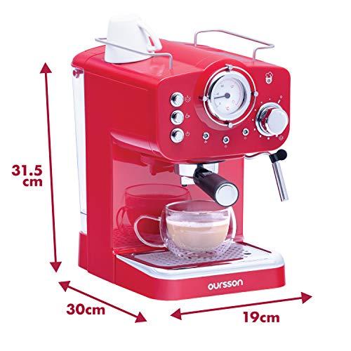 Oursson Cafetera Cappuccino y Café con 15 Bares de presión, 3 años de Garantia, Tanque de Agua de 1.5 litros, 900 Vatios, Rojo, EM1500/RD (Rojo)