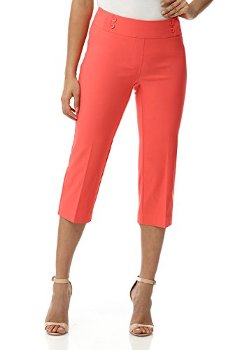 Rekucci Women's Ease in to Comfort Fit Capri with Button Detail (14,Papaya)