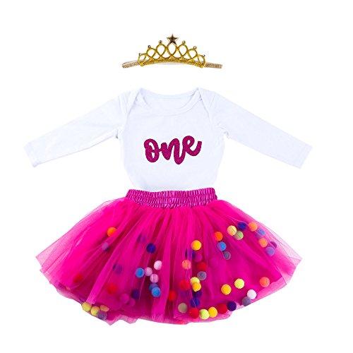 Baby Girls 1st Birthday Outfit Glitter One Romper Balls Skirt Crown Headband (Hot Pink, 12-18Months)