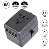 Travel Adapter, International Travel Universal Power Plug Adapter Worldwide Type C Type A Type G Type I All in One Plug Adapter with 4 Smart USB Ports for US UK AUS Asia Europe China Cell Phone