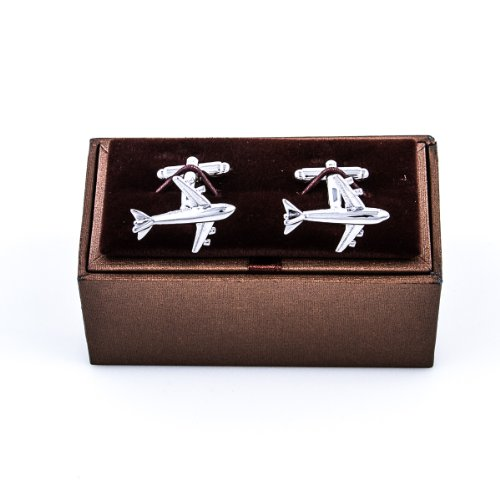 MRCUFF Airplane Plane Commercial Jetliner Jet Aircraft Pilot Pair Cufflinks in a Presentation Gift Box & Polishing Cloth by MRCUFF (Image #9)