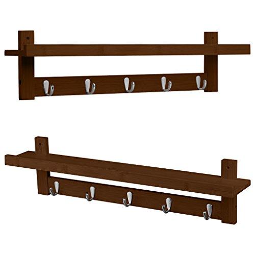 LANGRIA Coat Rack Shelf, Coat Rack Wall-Mounted Bamboo Wooden Hook Rack with 5 Metal Hooks and Upper Shelf for Storage Scandinavian Style for Hallway Bathroom Living Room Bedroom, Bamboo Brown Color by LANGRIA (Image #3)