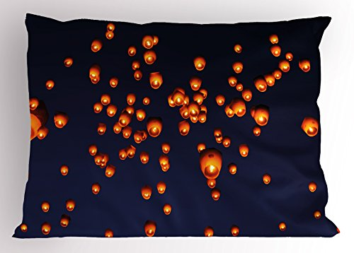 Lantern Pillow Sham by Ambesonne, PingXi District Festival at Night Taipei Taiwan Good Vibes Hope for Future, Decorative Standard Queen Size Printed Pillowcase, 30 X 20 Inches, Night Blue Orange