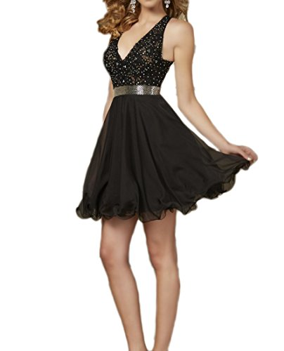Perspective Neck Short Appliques Gown Deep Homecoming DKBridal Dress Black Prom V Cocktail Eq80xEw14