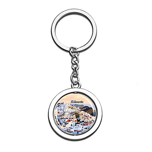 Almería Spain 3D Crystal Creative Keychain Spinning Round Stainless Steel Key Chain Ring Travel City Souvenir Collection ()