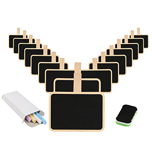 Mini Blackboard,KAKOO 16 Pcs Retangle Chalkboard with Wooden Clip Tag Signs for Wedding Party Decor Note Taking