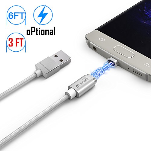 (Magnetic Micro Mini 2 Cable, iKNOWTECH Extra Long 6.5 Feet/2M Android Version LED Display USB Sync & Charge Cable for Samsung Galaxy S4 S5 S6 S7 Edge Plus, HTC, LG,)