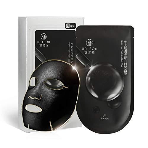 (UNIFON Facial Mask Sheet Black, Essence Full Skin Care Moisturizing Hydrating Whitening Brightening Japan Binchō-tan Mask Cloth, Pack of 8)