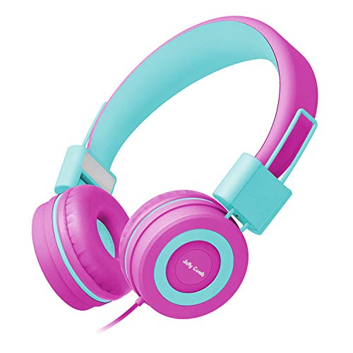Kids Headphones, Jelly Comb Children Headphones On Ear, Foldable Comfortable Wired Headphones for Kids, Toddler, Girls, Boys, Teans, Hearing Protection, 3.7mm Audio Jack (Fushia and Green)