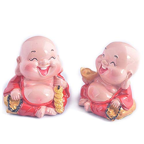- 2pcs/pair Laughing Buddha Statue for Happiness, Wealth + Free Red String Bracelet V9017