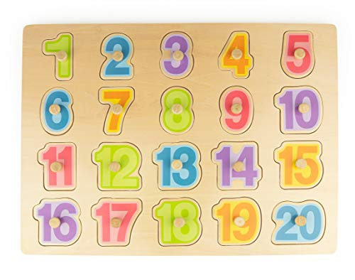 (Bimi Boo Wooden Numbers Peg Puzzles, See-Inside Puzzle Board Gift, Classic Early Educational Learning Toy for Preschool Kids & Toddlers, Developmental Toys, Sturdy Wood Construction (20 pcs))