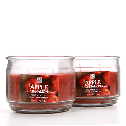 Hosley Set of 2 Apple Cinnamon Highly Scented, 2 Wick, 10 Oz Wax, Jar Candle. Ideal Aromatherapy Votive GIFT for Party Favor, Bridal, Wedding Spa Reiki, Meditation, Bathroom Settings O9 by Hosley (Image #1)