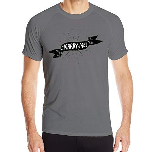 (VANMASS Men's Marry Me Sticker Quick Dry Short Sleeve Athletic T-Shirts XXL Deep)