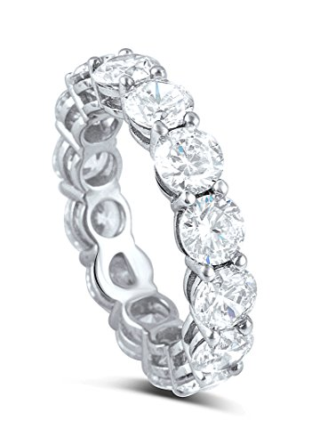 Cubic Zirconia Wide Ring (Sterling Silver Simulated Diamond 5mm Round Eternity Band Ring (8))