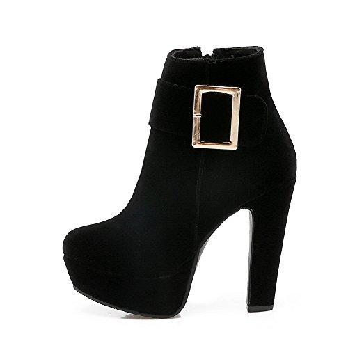 Negro Chunky botas metal hebillas diamante para plataforma esmerilado mujer BalaMasa de de tacones R7F8xq