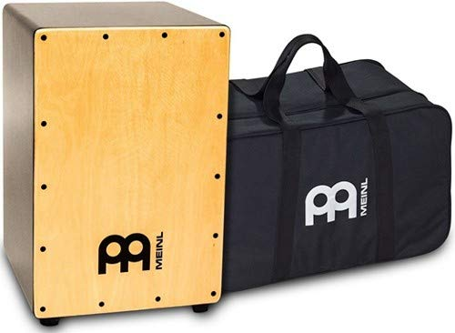 Meinl Percussion MCAJ100BK-MA+ Maple Cafe Cajon with Internal Fixed Snares and FREE Gig Bag, MDF Resonating Body (VIDEO)