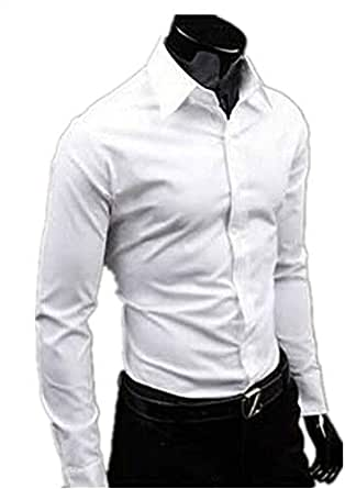 Mens Candy Color Slim Fit Dress Shirt Tee Top Gmf-3793 White M