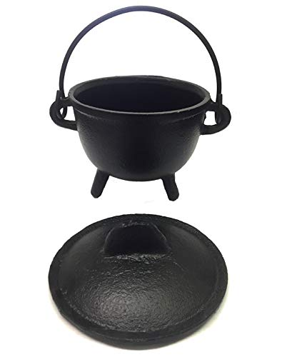 New Age Imports, Inc. Cast Iron Cauldron w/handle & lid, ideal for smudging, incense burning, ritual purpose, decoration, halloween decoration, candle holder, etc. (Pot Style 4'' Dia (BR90)) by New Age Imports, Inc.