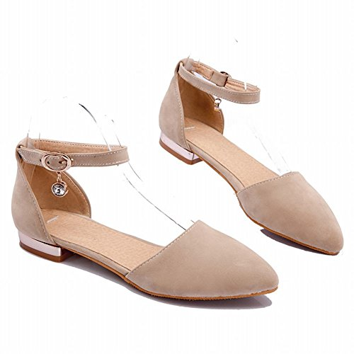 Montre Brillance Womens Fashion Cheville Sangle Mary Jane Flats Chaussures Beige