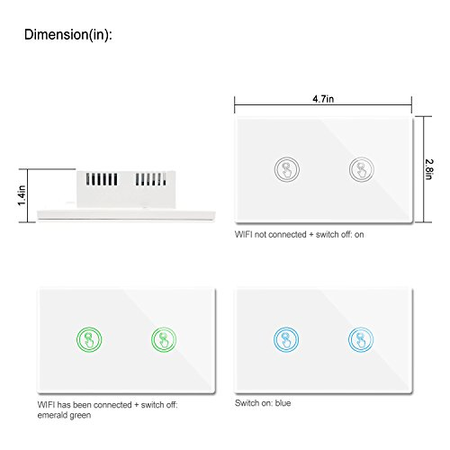 Smart Wifi Light Switches Touch Wall Switch Panel Replace 2 Switches in 1 Gang Wall Box Combination Smart Light Switch Compatible with Alexa and Work with Google Home and IFTTT Smartphone App Contro by Youngzuth (Image #8)