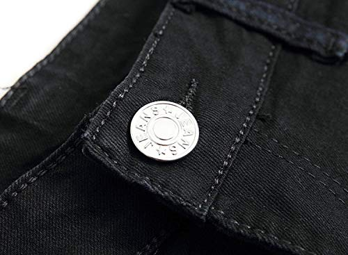 Pantaloni Moda Ragazzo Media Vintage In Da Denim Vita Sottili Nero Casual Dritti A Jeans Stretch Uomo TYF8O