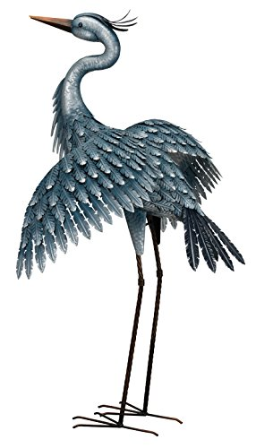 "Heron with Wings Out - 41"" Blue Metal Sculpture"
