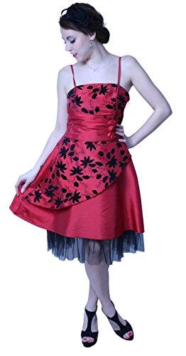 ROBLORA-Cocktail ceremonia vestido de noche vestido de dama de honor de la boda de bustier FLY01 Rouge-Noir
